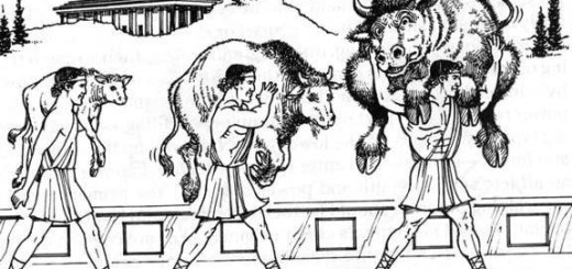 Cartoon of man carrying ox
