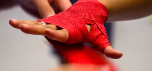 boxing hand wrap, red